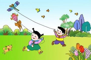 二年级看图写话 放风筝图片